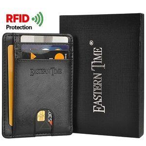 RFID Slim Wallet Front Pocket Thin - Black